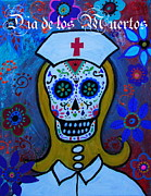 Dog Art Of Chihuahua Framed Prints - Dia De Los Muertos Nurse Framed Print by Pristine Cartera Turkus