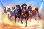 Good Luck Originals - 7 Horses Good Luck Painting by Yokami Arts