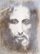 Prophet Drawings Posters - Jesus Christ Shroud of Turin Poster by Elena Markina