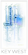 Lamp Post Prints - Key West Florida - Blue Heaven Rendezvous Print by John Stephens