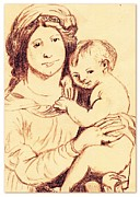 Child Jesus Drawings - Madonna And Child by Michael Snincsak