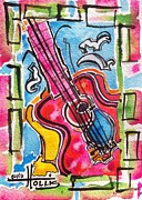 Guitar Painting Originals - Original and Prints available by Gayla Hollis