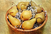 Food And Beverage Mixed Media Prints - 7 Pears At A Party Print by Andee Photography