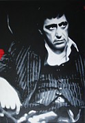 Big Al Painting Posters - Scarface Poster by Luis Ludzska