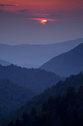 Smoky Posters - Smoky Mountain Sunset Poster by Andrew Soundarajan