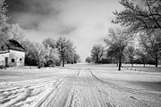 Snow Covered Village Prints - snow covered street in small rural farming community village Forget Saskatchewan Canada Print by Joe Fox