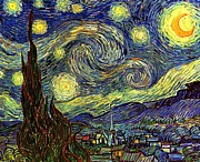 Small Towns Painting Metal Prints - Starry Night Metal Print by Vincent van Gogh