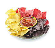 Crunchy Photos - Tortilla chips and salsa by Elena Elisseeva