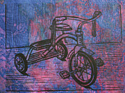 Linoluem Drawings - Tricycle by William Cauthern