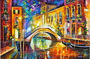 Canal Painting Originals - Venice by Leonid Afremov
