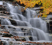 Fall Colors Photography Posters - Waterfall In Autumn Poster by Stephen  Vecchiotti