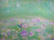 Waterlilies Mixed Media Posters - Waterlilies Poster by Angela Rose