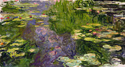 Purple Posters - Waterlilies Poster by Claude Monet