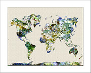 Map Of The World Painting Posters - World Map Watercolor Map of the World Poster by WaterColorMaps Chris and Mary Ann