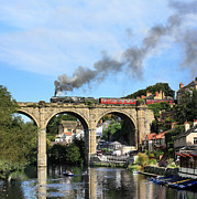 Oblivious Prints - 70013 Oliver Cromwell crosses the River Nidd Knaresborough Print by Alan Weaver