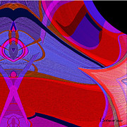 Ornamental Digital Art - 703 - Blue red abstract by Irmgard Schoendorf Welch