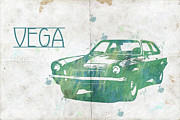 Custom Automobile Digital Art Posters - 71 Vega Poster by Paulette Wright