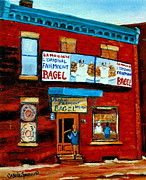 Store Fronts Posters - 74 Fairmount Street La Maison De Loriginal Bagel The Baker Chef At Work Vintage Montreal Scene Poster by Carole Spandau