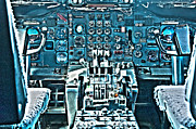 747 Photos - 747 Cockpit 5 by Micah May