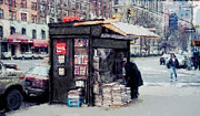Magazines Framed Prints - 75th and BROADWAY NEWSSTAND - NEW YORK Framed Print by Daniel Hagerman
