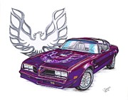 Hood Drawings Metal Prints - 78 Pontiac Firebird Metal Print by Shannon Watts