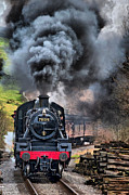 Black  Pyrography Prints - 78019 Steam Train Print by Karl Wilson