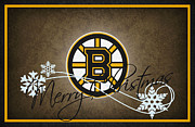 Christmas Greeting Photo Framed Prints - Boston Bruins Framed Print by Joe Hamilton