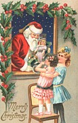 Father Christmas Paintings - Christmas card by English School