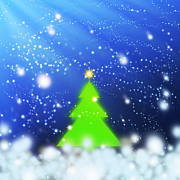 Backdrop Digital Art Originals - Christmas Tree by Atiketta Sangasaeng