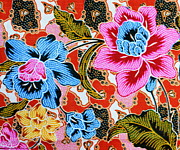White Cloth Tapestries - Textiles Posters - Colorful batik cloth fabric background  Poster by Prakasit Khuansuwan