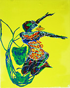 Dinka Paintings - Dinka Dance - South Sudan by Gloria Ssali