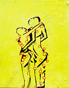 Africa Dinka Paintings - Dinka Embrace by Gloria Ssali