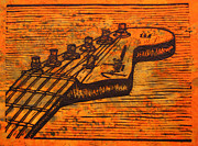 Lino Metal Prints - Fender Strat Metal Print by William Cauthern