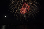 Celebration Art Print Prints - Fireworks Display Lake Coeur dAlene Idaho  Print by Denise Torres