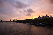 London Cityscape Posters - London Skyline Sunset Poster by Dawn OConnor