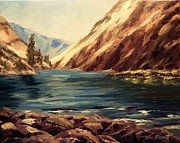 Salmon River Idaho Paintings - Lower Salmon River Idaho by Tom Siebert