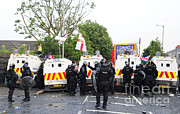 Crime Fighting Prints - Loyalist Protesters Attack Police Lines Print by Andrew Chittock