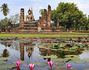 Ayutthaya Framed Prints - Main buddha Statue in Sukhothai historical park Framed Print by Anek Suwannaphoom
