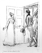 Fiction Drawings Framed Prints - Scene from Pride and Prejudice by Jane Austen Framed Print by Hugh Thomson