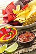 Lime Prints - Tortilla chips and salsa Print by Elena Elisseeva