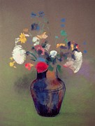 Vase Pastels Prints - Vase of Flowers Print by Odilon Redon