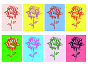 Purple Digital Art Digital Art Digital Art Drawings - 8 Warhol Roses By Punt by Gordon Punt
