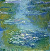 Ponds Painting Posters - Waterlilies Poster by Claude Monet