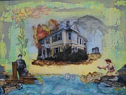 Haunted House Mixed Media Originals - 80 Sixth Street by Michelle Davidson
