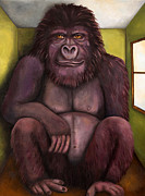 Gorilla Paintings - 800 Pound Gorilla In The Room edit 2 by Leah Saulnier The Painting Maniac
