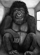 Gorilla Painting Posters - 800 Pound Gorilla In The Room edit 3 bw Poster by Leah Saulnier The Painting Maniac