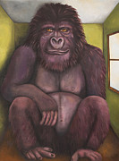 Gorilla Paintings - 800 Pound Gorilla In The Room edit 4 by Leah Saulnier The Painting Maniac