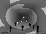 Inu Digital Art - 816 - Light at the end of the tunnel by Irmgard Schoendorf Welch
