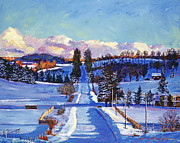 Fences Paintings - 817 Canadian Winter Farm by David Lloyd Glover