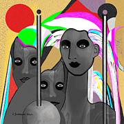 Heads Digital Art Prints - 822 - Surreal Warrior Women Pride Print by Irmgard Schoendorf Welch
